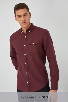 Langärmeliges Twill-Hemd, angeraut