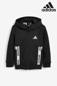 adidas Black Sport ID Tape Zip Through Hoody