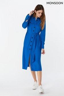 שמלת חולצה באורך מידי דגם Aster בצבע כחול של Monsoon Ladies