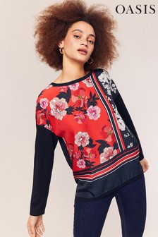Oasis Blue Floral Placement Woven Top