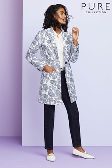 Pure Collection Blue Floral Jacquard Coat