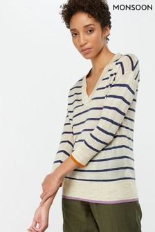 Monsoon Ladies Cream Lila Linen Blend Striped Tipped Jumper