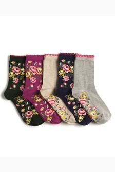 Floral Ankle Socks Five Pack