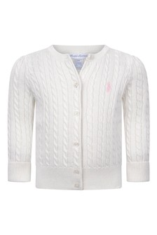 Baby Girls White Cotton Cable Knit Cardigan