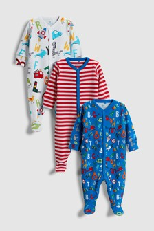 Alphabet/Character Sleepsuits Three Pack (0mths-2yrs)