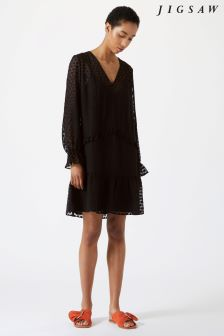 Jigsaw Black Spot Jacquard Drop Waist Dress