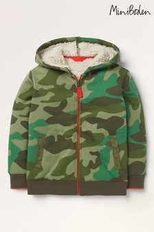 Mini Boden Green Borg-lined Zip-up Hoody