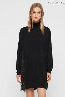AllSaints Black Paola Lace Insert Jumper Dress