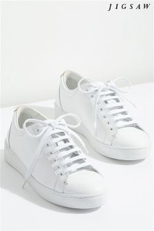 Jigsaw White Amour Lace-Up Trainer