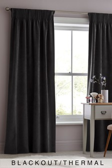 Soft Velour Pencil Pleat Blackout/Thermal Curtains