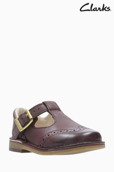 Clarks Burgundy Leather Brogue Comet Reign T-Bar First Shoes