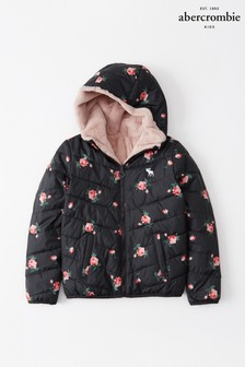 Abercrombie & Fitch Black Floral Padded Coat