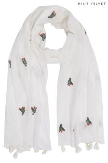 Mint Velvet White Embroidered Bird Scarf