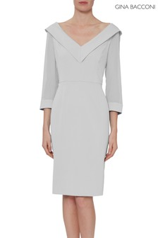 Gina Bacconi Grey Cynthia Crepe And Chiffon Dress