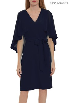 Gina Bacconi Blue Chestina Moss Crepe Dress With Cape