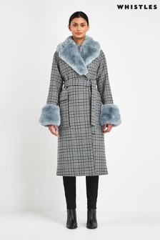 Whistles Checked Faux Fur Cuff Coat