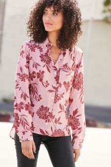 Рубашка в полоску с цветочным принтом