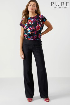 Pure Collection Laundered Linen Wide Leg Trouser
