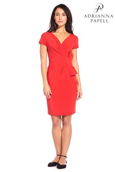 Adrianna Papell Red Polish Bow Waist V-Neck Sheath Dress
