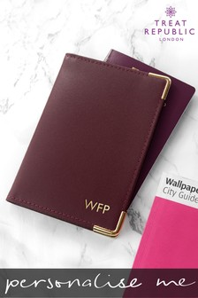 Personalised Luxury Leather Passport Holder by Treat Republic