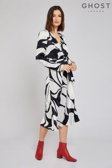 Ghost London Black Meryl Abstract Mono Print Satin Dress