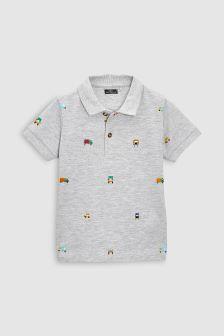 Рубашка поло с коротким рукавом и вышивкой (3 мес.-6 лет)