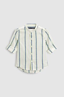 Stripe Long Sleeve Linen Blend Shirt (3mths-6yrs)