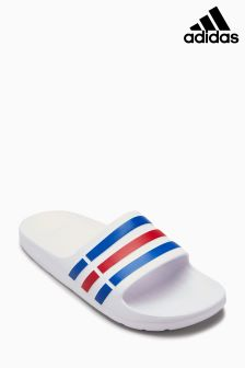 adidas White/Red/Blue Duramo Slide