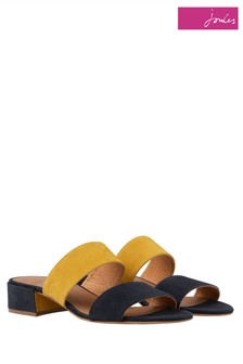 Joules Yellow Kayleigh Two Strap Block Heel Sandal