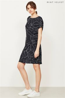 Mint Velvet Blue Summers Print Tie Side Dress