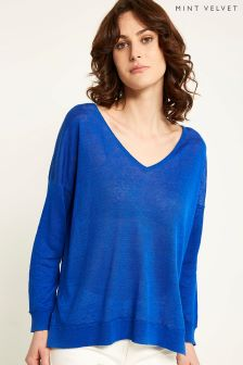 Mint Velvet Blue V Neck Raw Seam Detail Boxy Knit
