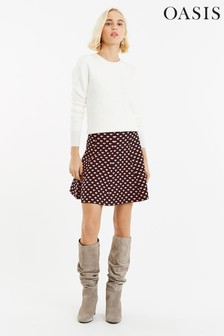 Oasis Black Maggie Heart Knitted Skirt