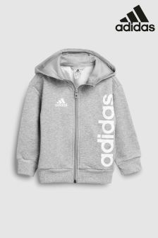adidas Grey Linear Full Zip Hoody