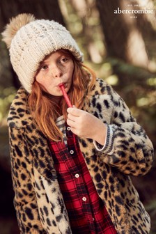 Abercrombie & Fitch Mädchen-Jacke mit Leoparden-Fellimitat