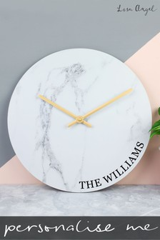Personalised Marble Wall Clock by Lisa Angel