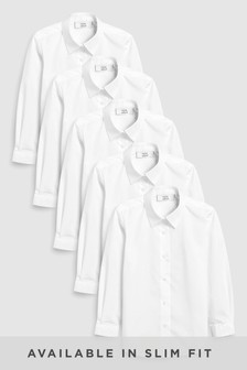 Slim Fit Long Sleeve Formal Blouse Five Pack (3-16yrs)