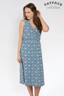 FatFace Indigo Blair Woodblock Midi Dress