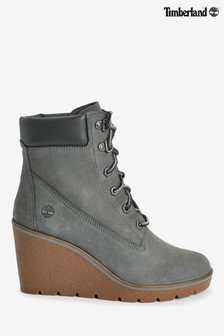 Timberland® Grey Nubuck Paris Height Wedge Boots