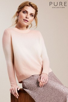 Pure Collection Pink Cashmere Curved Hem Boyfriend Sweater