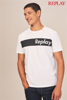 Replay® White Block Logo T-Shirt