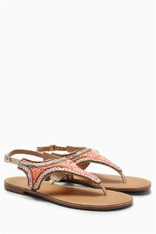 Embroidered Toe Post Sandals