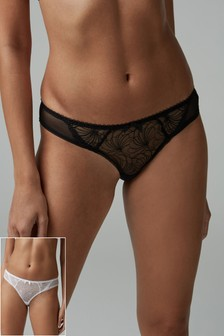 Embroidered Knickers Two Pack
