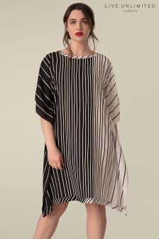 Live Unlimited Black And White Silky Crepe Kaftan