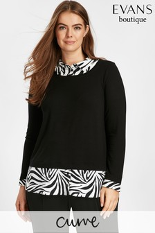 Evans Black Zebra Print 2-In-1 Scoop Shirt