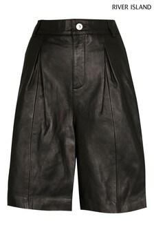River Island Black Leather Bermuda Shorts