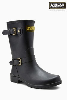 Barbour® International Black Monza Biker Welly