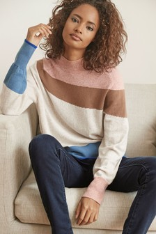 Saddle Sleeve High Neck Jumper