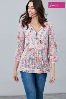 572c4bc8fc03a1 Joules Pink Daria Print Woven Top