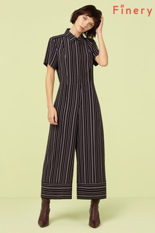 Finery London Black Alida Striped Jumpsuit