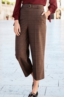 Check Wide Cropped Trousers